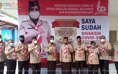 Vaksinasi di Aula Dispora Maluku menyambut HUT ke-60 Gerakan Pramuka